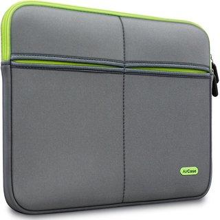 AirCase 11.6-Inch Laptop Sleeve, Premium, Designer, Suave, 6-MultiUtility Pockets (Grey)