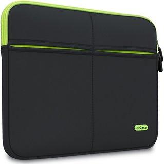 AirCase 11.6-Inch Laptop Sleeve, Premium, Designer, Suave, 6-Multi Utility Pockets (Black)