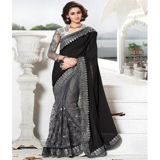 c11b31da1863 Buy Designer Bahu Black and Grey Half Half Designer Saree Online ...