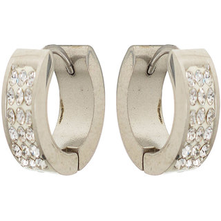 Sanaa Creations Silver Alloy Hoop Earrings for Men