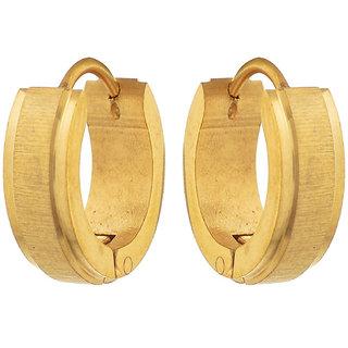 Sanaa Creations Gold Alloy Hoop Earrings for Men