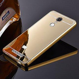 Redmi Note 3 Metal Bumper Acrylic Mirror Back Case Cover (Gold)