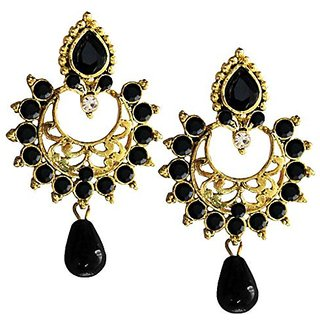 Women Fashion Jewellery Antique Black Gold Plated Stone Studded Drop Earring