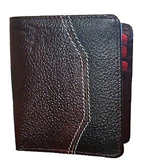 Menjewell Rich & Stylish Black Genuine Leather Wallet For Men (12 Card Slots)