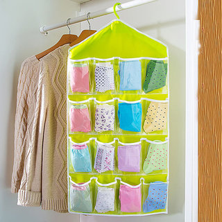 Best Deals - 16 Pockets Rack Storage Closet Wardrobe Hanging Shelf For Clothes.