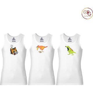 Rider Blue Bird Cartoons Printed Cotton White Vest for Kids (Pack of 3)