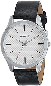 Sonata Round Dial Black Leather Strap Watch For Men