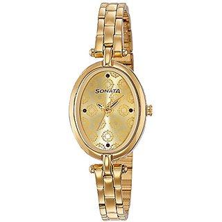 Sonata Quartz Gold Dial Women Watch-8148YM01