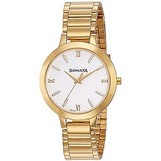 Sonata Round Dial Gold Stainless Steel Strap Watch for Women