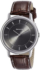 Sonata Round Dial Brown Leather Strap Watch For Men