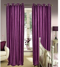daya handloom purpule Plain Curtain