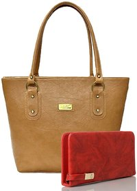 Clementine Women's Handbag And Clutch Combo (Beige-Red, sskclem257)