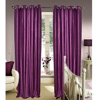 daya handloom purpule Plain Curtain