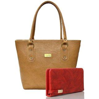 Clementine Women's Handbag And Clutch Combo (Beige-Red, sskclem257)