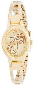 Sonata Quartz Beige Oval Women Watch 8085YM01