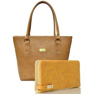 Clementine Women's Handbag And Clutch Combo (Beige-Red, sskclem258)