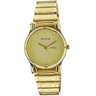 Sonata Quartz Gold Round Men Watch 7023YM09