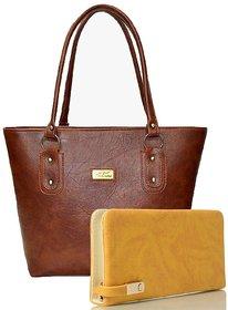 Clementine Women's Handbag And Clutch Combo (Beige-Red, sskclem259)