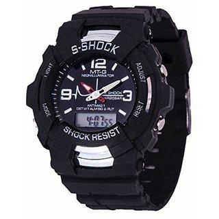 S Shock (MT-G) Round Dial Analog And Digital Black Strap Quartz Watch for Men/Boys