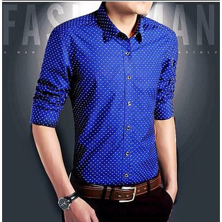 Blue Sea Mens Dotted Royal Blue Casual Shirts