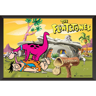 EJA Art The Flinstones: Fred & Dino Poster (12x18 inches)