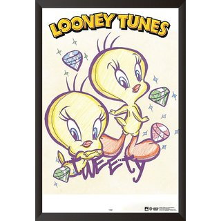 EJA Art Tweety The Looney Tunes Poster (12x18 inches) With Frame
