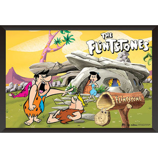 EJA Art   The Flintstones Family  and The Flintstones: Barney & Dino  Poster (12x18 inches)