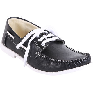 Quarks Mens Black Synthetic Smart Casual Shoes