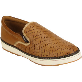 Quarks Mens Tan Synthetic Slip On Smart Casual Shoes