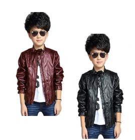 Pari & Prince Kids Leather Jacket Combo (Pack Of 2)