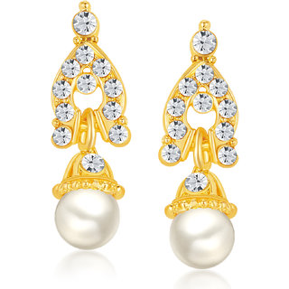 Shostopper Casual Alloy Gold Plated Australian Diamond Contemporary Drops Earring - SJ6061EN