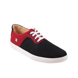 Quarks Mens Black Smart Canvas Casual Shoes