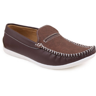 Quarks Mens Brown Suede Casual Loafers