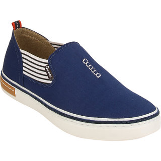 Quarks Mens Blue Slip On Smart Canvas Casual Shoes