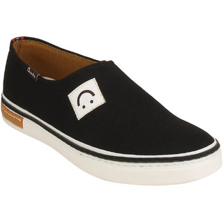 Quarks Mens Black Slip On Smart Canvas Casual Shoes