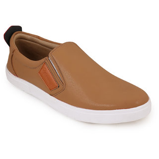 Quarks Mens Beige Synthetic Smart Slip On Casual Shoes