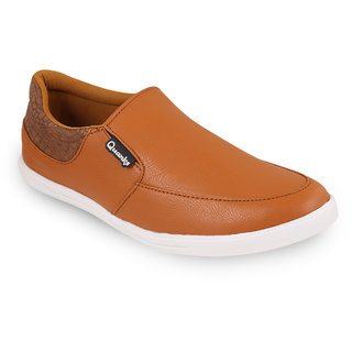 Quarks Mens Tan Synthetic Smart Slip On Casual Shoes