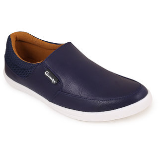 Quarks Mens Blue Synthetic Smart Slip On Casual Shoes