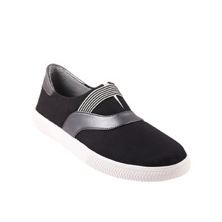 Quarks Mens Black Smart Slip On Canvas Casual Shoes