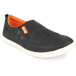 Quarks Mens Black Synthetic Smart Slip On Casual Shoes