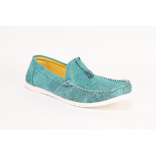 Quarks Mens Sea Green Tassel Loafers