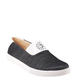 Quarks Mens Black Smart Slip On Canvas Casual Shoes