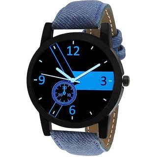 Timebre Round Dial Blue Leather Strap Men Quartz Watch for Men