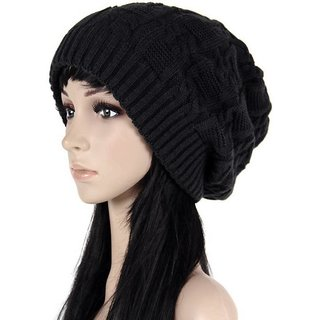 Babji Fastioneble styish woolen black cap for men and women free size
