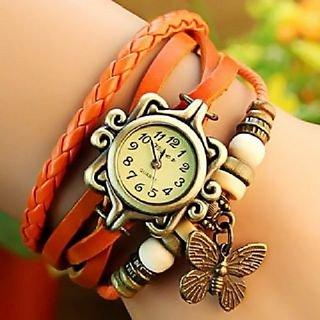 Butterfly Fashion Bracelet Faux Leather Quartz Wrist Watch For Women By MORLI