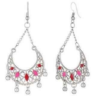 JewelMaze Rhodium Plated Maroon  Pink Meenakari Afghani Earrings