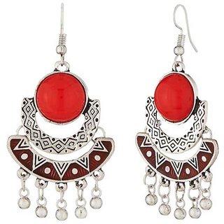 JewelMaze Rhodium Plated Red Meenakari Afghani Earrings