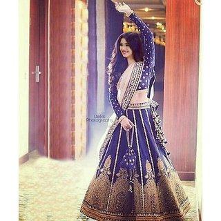 Salwar Soul Designer Navy Blue Banglory satin Lehenga choli