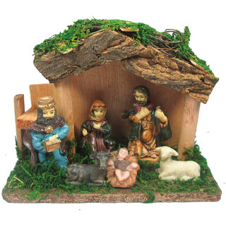Beautifully Handmade Wood Hut With Marble Power Made Mary Joseph Baby Jesus Lamb / Nativity Set/ crib set- 12 x 15 x 6 (