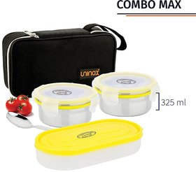 Lovato Stainless Steel Combo Max Lunch Box -Air tight Dishwasher Safe and Leak Proof